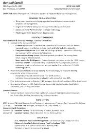 Resume Sample Hotel Management Trainee Curriculum Vitae Restaurant