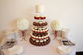 White Red And Chocolate Cupcake Wedding Tower With Rustic Buttercream Cake Topper