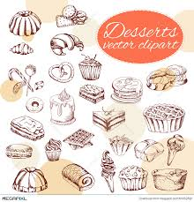 Vector desserts elements in hand drawn style Delicious food Art illustration Sweet pastry