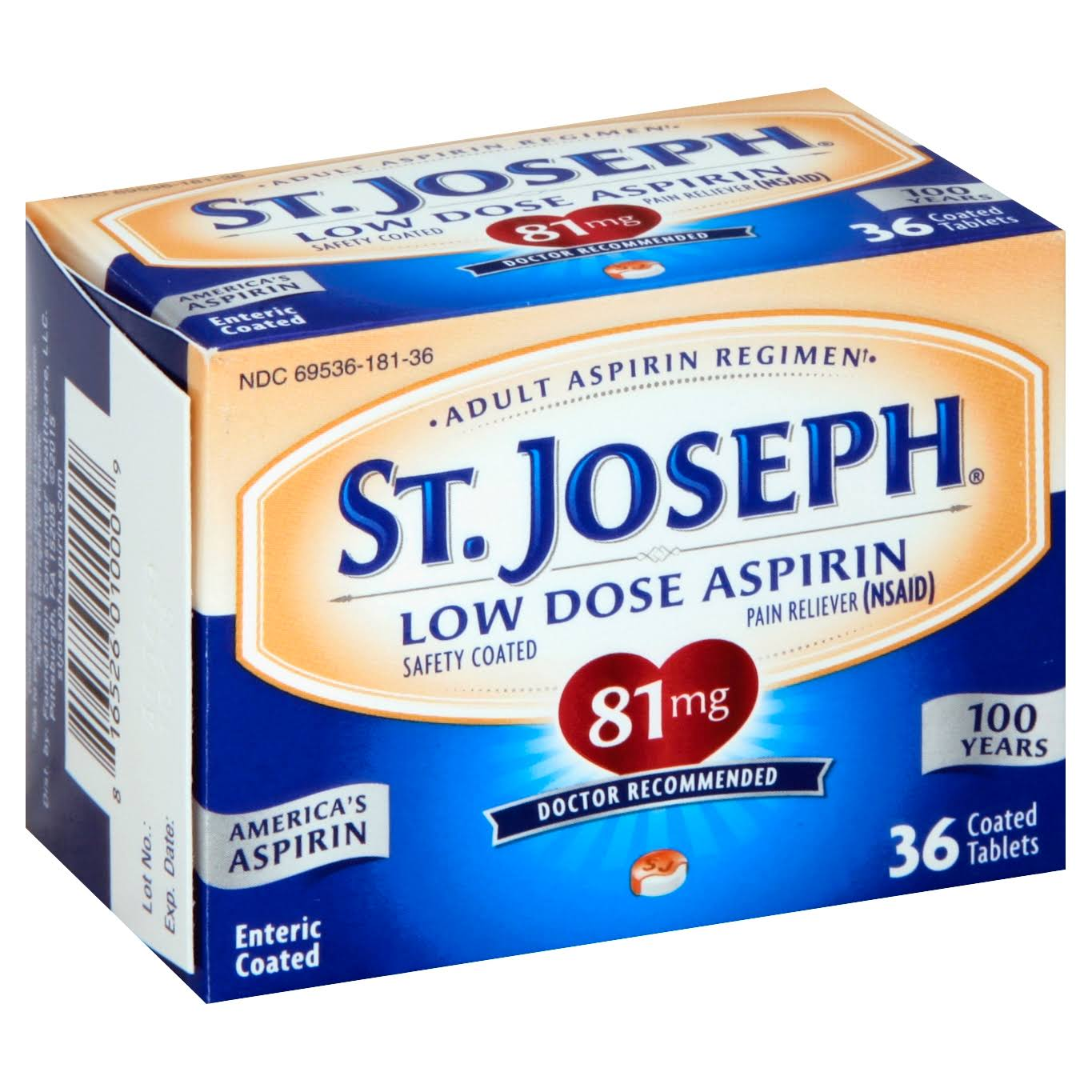 St. Joseph Aspirin Low Dose Pain Reliever - 36 Tablets