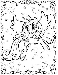 My Little Pony Unicorn Coloring Page With Border Hearts Glitter And Stars I Edited Out The Candance