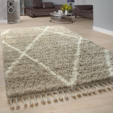shaggy teppich wohnzimmer hochflor rauten muster skandi design