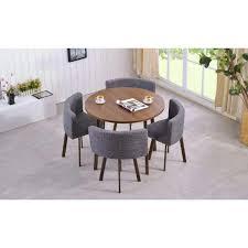 riga tischgruppe mit rundem tisch und vier stühlen dunkle eiche und grauer stoff