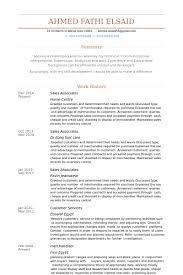 Sales Associates Resume Example