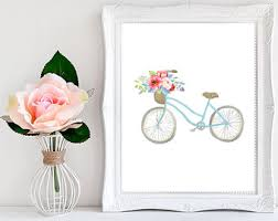 Bicycle Wall Art Nursery Floral Printable Rustic Decor Poster Shabby Chic Bike
