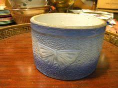 STONEWARE SALT GLAZE BUTTER CROCK BLUE FLOWER WEAVE