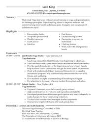 Best Yoga Instructor Resume Example