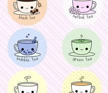 Coffee Cups Cute Drawing Green Orange Pastel Pink