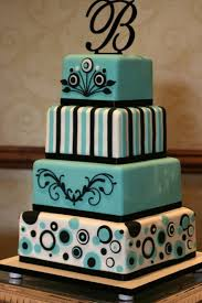 blue black white wedding cake designs