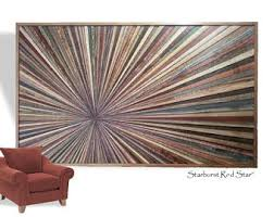 Reclaimed Wood Art Sculpture Large Starburst Rustic Modern Transistional Abstract Textured Infinity Point Narrow Strips Custom