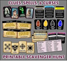 Easy Halloween Scavenger Hunt Clues by Clues Spells And Curses Scavenger Hunt