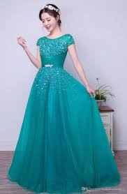 turquoise tulle a line long modest prom dresses with short sleeves
