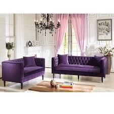 Tufted Velvet Sofa Bed by Baxton Studio Flynn French Inspired Purple Velvet Upholstered