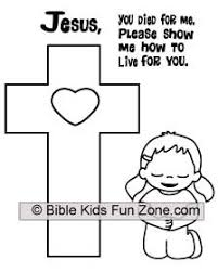 Coloring Sheet Of A Little Girl Kneeling At The Cross Jesus You Died For