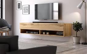 tv lowboard epsom in eiche wotan tv unterteil hängend 140 x 30 cm flat tv board als hängeschrank