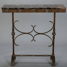 deco fer forge console with marble top at 1stdibs