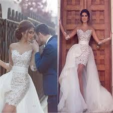 sweetheart long sleeve wedding dress with detachable train latest