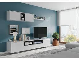wohnzimmer set 200 cm glänzend weiß und anthrazitgrau farbe weiß