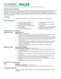 Pharmacist Curriculum Vitae Examples