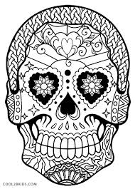 Easy Sugar Skull Day Of by Printable Skulls Coloring Pages For Kids Cool2bkids