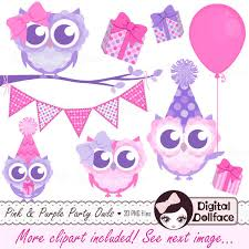 Pink and Purple Owl Birthday Clip Art Owl Birthday Girl