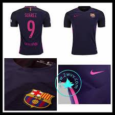 acheter maillot extérieur fc barcelone suarez homme violet 2016