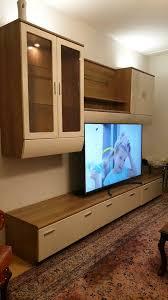 wohnzimmer led schrank wohnwand sideboard weiß creme 3m