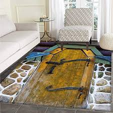Rustic Area Rug Carpet Antique Style Door Of A Stone House In The Countryside Entrance Architecture