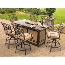 traditions 7 piece high dining bar set in tan with 30 000 btu fire