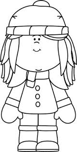 Winter Kids Clipart Black And White