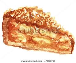 Apple pie A piece of cake Watercolor illustration Watercolor food pastries