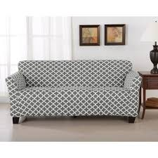 brenna collection trellis print stretch form fitted sofa slip