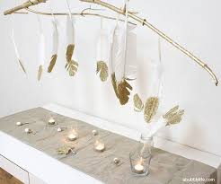 DIY Gold Feather Chandelier