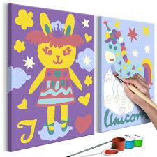 Cuadro Para Colorear Conejo Y Unicornio Deko Shop