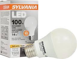 sylvania 100w equivalent led light bulb a19 l 1 pack soft