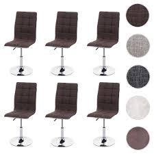 6x esszimmerstuhl hwc c41 stuhl küchenstuhl höhenverstellbar drehbar stoff textil