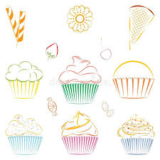 Download Set Vector Cupcakes And Sweets Outline Stock Vector Image