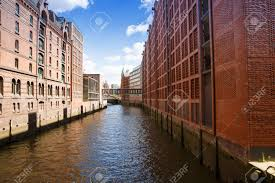 100 Water Bridge Germany Canal From Elbe River Bridge And Buildings At Speicherstadt