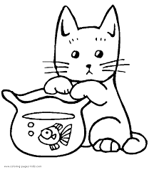 Cat Looking Innocent With A Fish Bowl Color Page