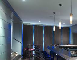 floating panel wall with led lighting traditional basement