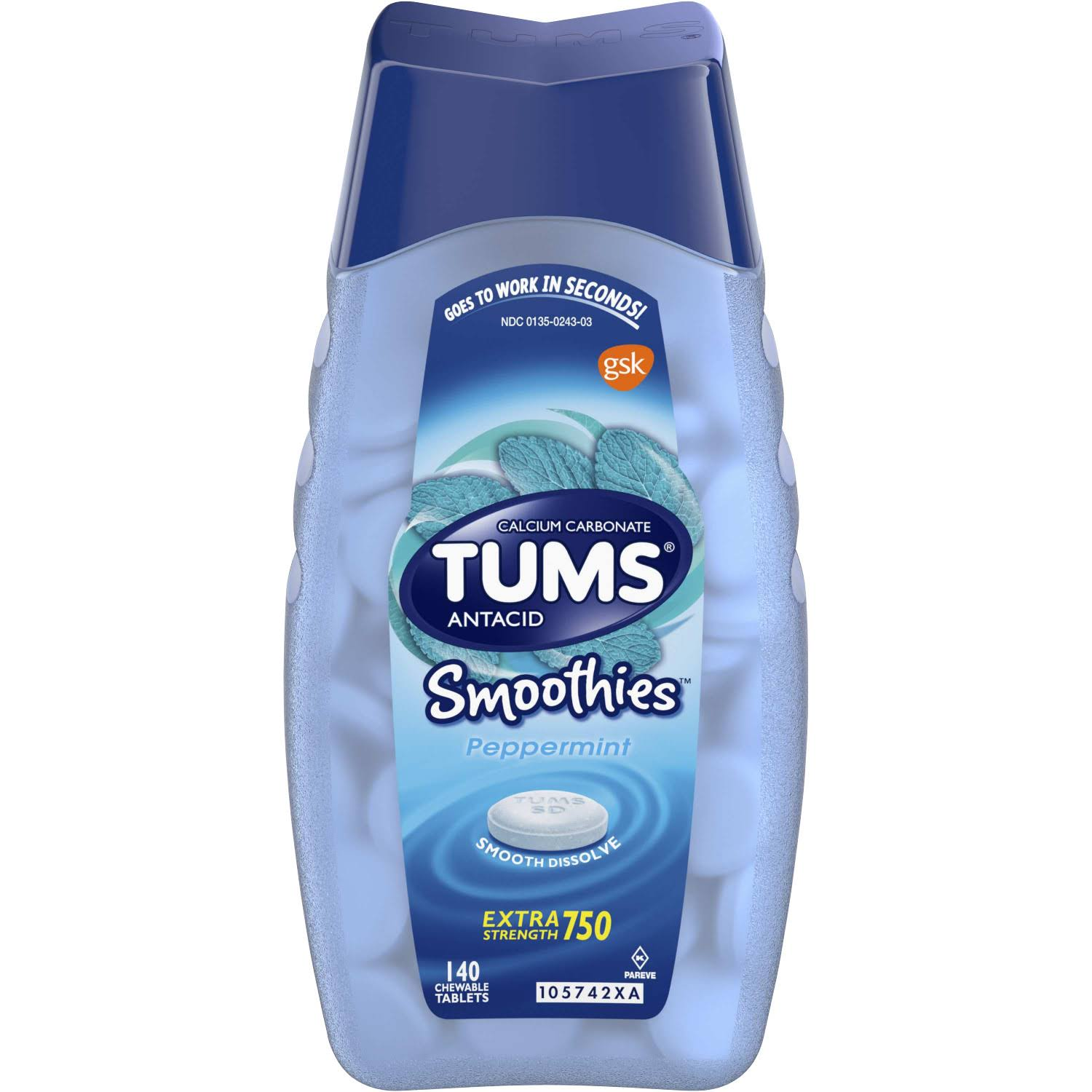 Tums Smoothies Antacid Calcium Supplement Peppermint - 140ct