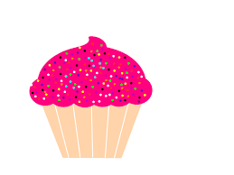 Cupcake With Pink Frosting And Sprinkles Clip Art