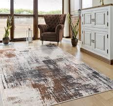 designer teppich kunstvoll abstrakt in grau kupfer creme vimoda homestyle