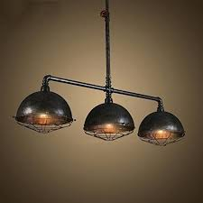 Pipe Light Fixture Industrial Vintage Retro Linear Designed Chandelier Wide Metal Hanging Ceiling Diy