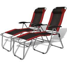 Reclining Camping Chair (2 Pcs) - Red And Black