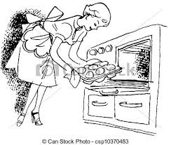A Black And White Version A Vintage Illustration A Woman Removing Buns From The Oven