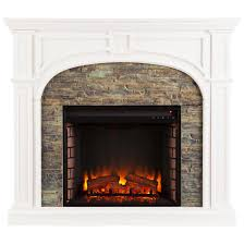 Decor Flame Infrared Electric Stove by Southern Enterprises Tanaya Stacked Stone Fireplace White