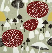 scandinavian fabric vtg retro mushroom diy cushion curtains 50s