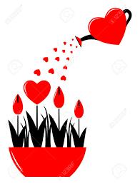 coeur de en pot fleurs de coeur de vecteur dans le pot et le c ur arrosoir isolé