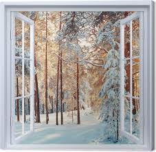 leinwandbild weiß offenes fenster kiefer mit schnee bedeckt